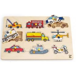 PUZZLE in legno CON POMELLI Veicoli di emergenza HAPE trucks MEZZI SPECIALI incastro 2 ANNI +
