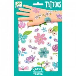 TATUAGGI PRINCIPESSA DEI FIORI tattoo glitter per bambini DJECO DJ09585 rimuovibili con acqua