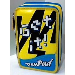 ASTUCCIO SEVEN 3 zip GET IT! it ! PEN PAD 3 scomparti GIALLO super accessoriato INNOVATION LAB 7.1 penpad LAVABILE boy