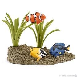 SET PESCI DELLA BARRIERA CORALLINA Schleich DIORAMA kit da gioco WILD LIFE 42327 miniature animali in resina