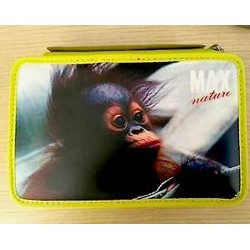 ASTUCCIO 3 zip MAX NATURE super accessoriato GIALLO Seven SCUOLA 3 scomparti SCIMMIA orango SCIMPANZE