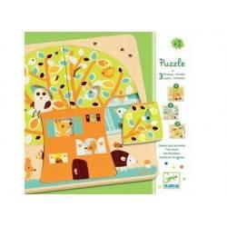 Puzzle legno 12 pezzi Djeco 3 livelli Casa sull'albero età 2+