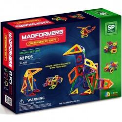 MAGFORMERS Designer Set 62 PEZZI creator line COSTRUZIONI magnetiche 3D età 3+