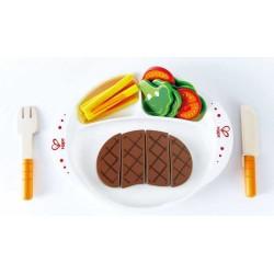 PRANZO PRELIBATO set IN LEGNO Hape E3141 bistecca e contorno GIOCO età 3+