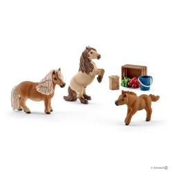 FAMIGLIA DI CAVALLI MINI SHETLAND animali in resina SCHLEICH miniature 41432 farm life SET pony