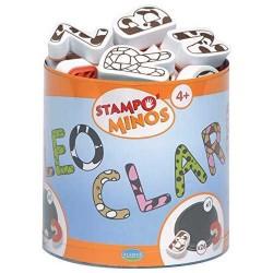 STAMPOMINOS stampo minos 26 TIMBRI con tampone NERO Aladine LETTERE ALFABETO stampo'minos STAMPINI 3+