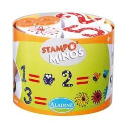 STAMPOMINOS stampo minos 18 TIMBRI con tampone NERO Aladine NUMERI E OPERAZIONI stampo'minos STAMPINI 3+