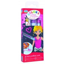 PENNARELLI GLITTER set 3 pezzi ALADINE marker colors GIALLO ROSA VIOLA accessori kit artistici 3+