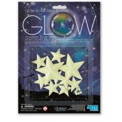 SET STELLE GLOW 10 stelline 3D fluorescenti STARS adesive 4M SI ILLUMINANO AL BUIO età 3+