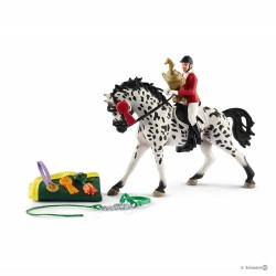 CONCORSO DI SALTO A OSTACOLI CON GIUMENTA KNABSTRUPPER Schleich KIT gioco SET farm life 41434 miniature in resina 3+ torneo