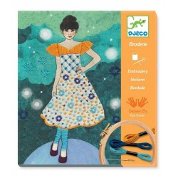 RICAMO fashion midnight CUCITO crea broderie DJECO kit artistico DECORAZIONE creativo DJ09842 età 8+