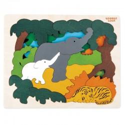 Puzzle in legno ANIMALI ASIATICI 31 pezzi Hape George Luck E6521 età da 5 anni