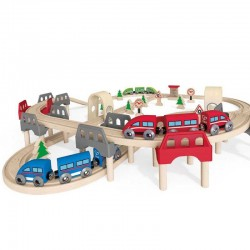 SET FERROVIA SU E GIU' Hape E3701 treno in legno binari giocattolo