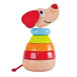 CANE IMPILABILE arcobaleno SONORO in legno PEPE & FRIENDS sound stacker HAPE incastro E0448 12 mesi +
