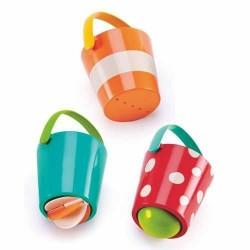 SET ALLEGRI SECCHIELLI gioco da bagno IN PLASTICA 3 pezzi TEDDY & FRIENDS bagnetto HAPE 12 mesi +
