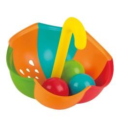 SET OMBRELLO E PALLINE gioco da bagno IN PLASTICA 4 pezzi TEDDY & FRIENDS bagnetto HAPE 12 mesi +