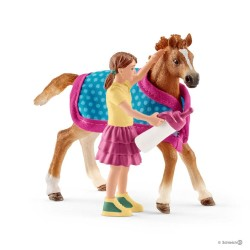Set PULEDRO CON COPERTA horse club SCHLEICH cavalli in resina 42360 DIPINTO A MANO età 5+