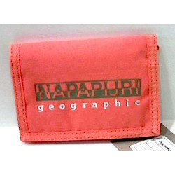 PORTAFOGLIO Hallet NAPAPIJRI neon pink ROSA portafogli GEOGRAPHIC classico VELCRO zip