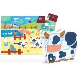 Puzzle Djeco Mucca e Fattoria, 24 pezzi età 3+