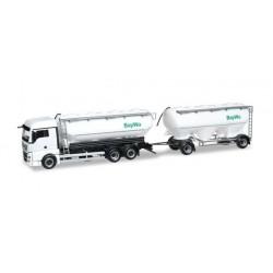 MAN TGX XLX EURO 6 BULK SILO TRAILER BAYWA Herpa 304580 Auto Trucks Camion scala 1:87 model