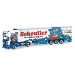 SCANIA 164 REFRIGERATED BOX TRAILER SCHEUFLER Herpa 304337 Auto Trucks Camion scala 1:87 model