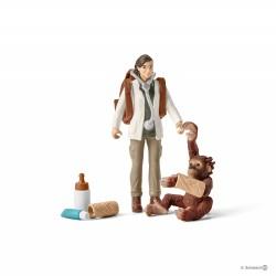 Set VETERINARIA AL LAVORO kit gioco SCHLEICH 42353 miniature in resina WILD LIFE jungle 3+
