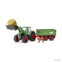 Set TRATTORE CON RIMORCHIO gioco SCHLEICH 42379 miniature in resina FARM WORLD kit fattoria 3+