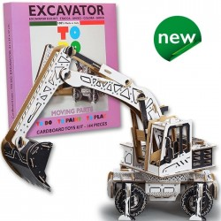 ESCAVATORE To Do EXCAVATOR in cartone DA MONTARE e colorare 144 PEZZI kit MADE IN ITALY 6+