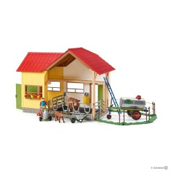 Set VITA IN FATTORIA kit gioco SCHLEICH cavalli in resina FARM WORLD 42394 con stalla e accessori 5+