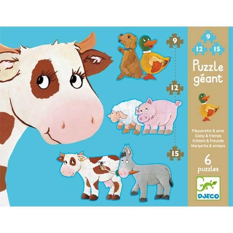6 PUZZLE GEANT gigante DAISY E AMICI 9 12 15 grandi pezzi DJ07111 animali DJECO sagomato 3+