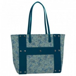 FASHION BAG reversibile BORSA bouclè HOY shoulder CON MANICI e tracolla SEVEN double face BLU
