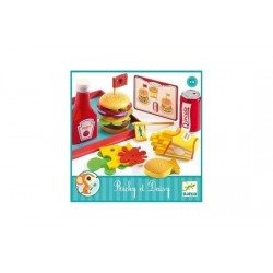 FAST FOOD gioco in legno RICKY ET DAISY set DJECO vassoio TAVOLA CALDA truck DJ06635 età 3+