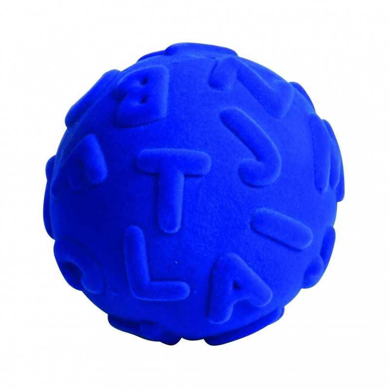 ALPHALEARN BALL BLUE palla morbida ALFABETO BLU gomma naturale RUBBABU caucciu GIOCO tattile 1+