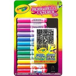 RICARICA Crayola SET girl 12 PENNARELLI LAVABILI + 8 STENCIL color spray COLORI età 6+