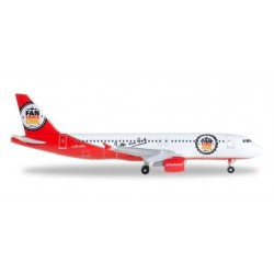 AIRBERLIN FAN FORCE ONE AIRBUS A320 aereo in metallo 526920 modellino HERPA WINGS scala 1:500