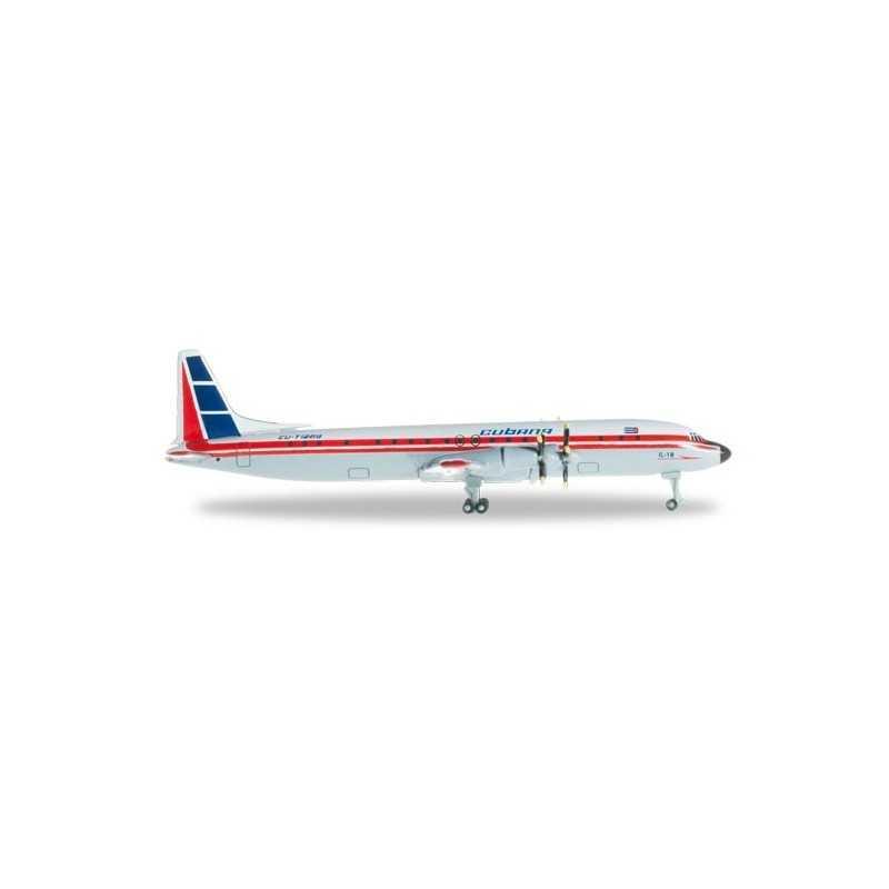 CUBANA ILYUSHIN IL-18 aereo in metallo 526388 modellino HERPA WINGS scala 1:500