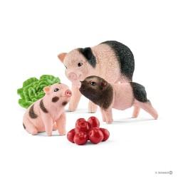 MAIALINI CON SCROFA E CIBO mele insalata SET maiali FARM WORLD kit da gioco SCHLEICH miniature in resina 42422 età 3+