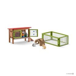 CONIGLIERA GRANDE gabbia e recinto SET conigli FARM WORLD kit da gioco SCHLEICH miniature in resina 42420 età 3+