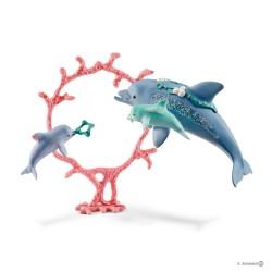 DELFINO MAMMA E CUCCIOLI animali BAYALA gioco SCHLEICH fantasy 41463 miniature in resina TOY età 3+