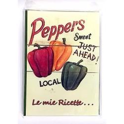 RICETTARIO stampato PEPERONI album CARTASTELLA 18 x 25 cm FATTO A MANO carta IN ITALIA hand made