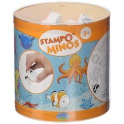 STAMPOMINOS stampo minos 11 TIMBRI con tampone NERO Aladine MARE stampo'minos STAMPINI età 3+