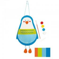 POCHETTE PINGUINO kit artistico HAPE penguin pouch GIOCO ATTIVITA' da dipingere e cucire HAND CRAFT età 4+