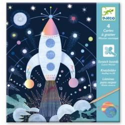 CARTE DA GRATTARE scratch boards MISSIONE SPAZIALE kit artistico 4 TAVOLE gioco set DJECO DJ09727 età 6+
