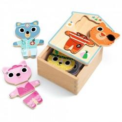 DRESS UP MIX dressup 6 PUZZLE con scatola IN LEGNO da 3 pezzi DJECO DJ01678 età 2+