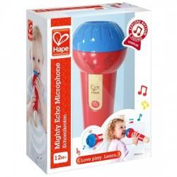 POTENTE MICROFONO ECO mighty echo microphone HAPE gioco in plastica e legno FUNZIONA DAVVERO E0337 da 12 mesi +