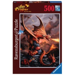 PUZZLE Ravensburger DRAGO ARDENTE soft click 500 PEZZI 36 x 49 cm AGE OF DRAGONS