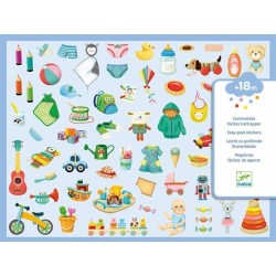 DECALCOMANIE mini adesivi PICCOLO MONDO Djeco DJ09086 KIT ARTISTICI età 18 mesi+