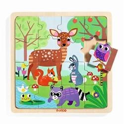 PUZZLO FORESTA puzzle in legno DJECO gioco 16 PEZZI forest DJ01812 con base INCASTRO età 3+