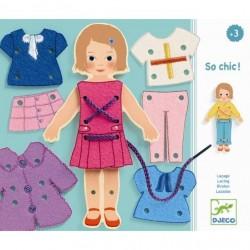 LACCI gioco SO CHIC vestiti DJECO tessuti DJ01691 modella in legno 15 PEZZI età 3+