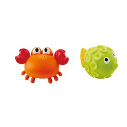ROCK POOL SQUIRTERS granchio e pesce palla LITTLE SPLASHERS silicone HAPE abs E0208 età 18 mesi +